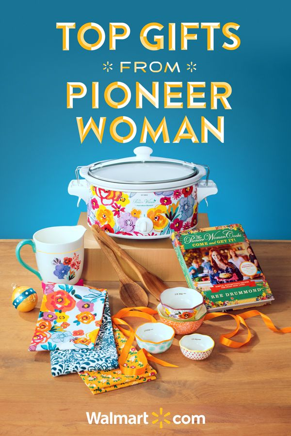 Discover some truly special gift ideas this holiday season with all the latest in Pioneer Woman kitchen, cooking and dinnerware products. Shop today at Walmart. Top Gifts from Pioneer Woman Include: Pioneer Woman Slow cooker, Cookbook, Hand towel set, Utensils, 4 pc measuring bowls.