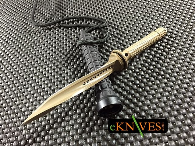 """Microtech Mini Jagdkommando Tri-Edge Dagger 3.75"""" blade has 3 sharp edges that twist to a point while the handle is a hollow waffle design made from 6061-T6."""