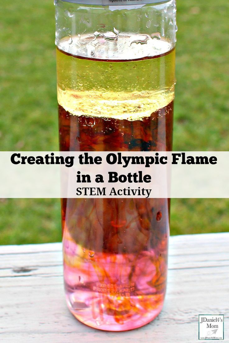 Creating the Olympic Flame in a Bottle STEM Activity - Children at home and students at school will have fun exploring how food coloring separates from oil to cascade into water like the flickers of an Olympic flame. There is a free recording printable your children can use to share why they think this happens and the colors they see in their jars.