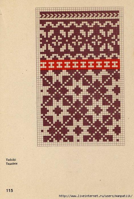 Latviešu tautiskie dūraiņu raksti - (Латышские народные орнаменты) варежки…