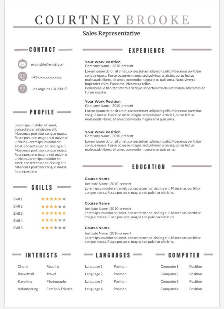 Modern Resume  Optimized 1 Page Resume  Clean Resume ...