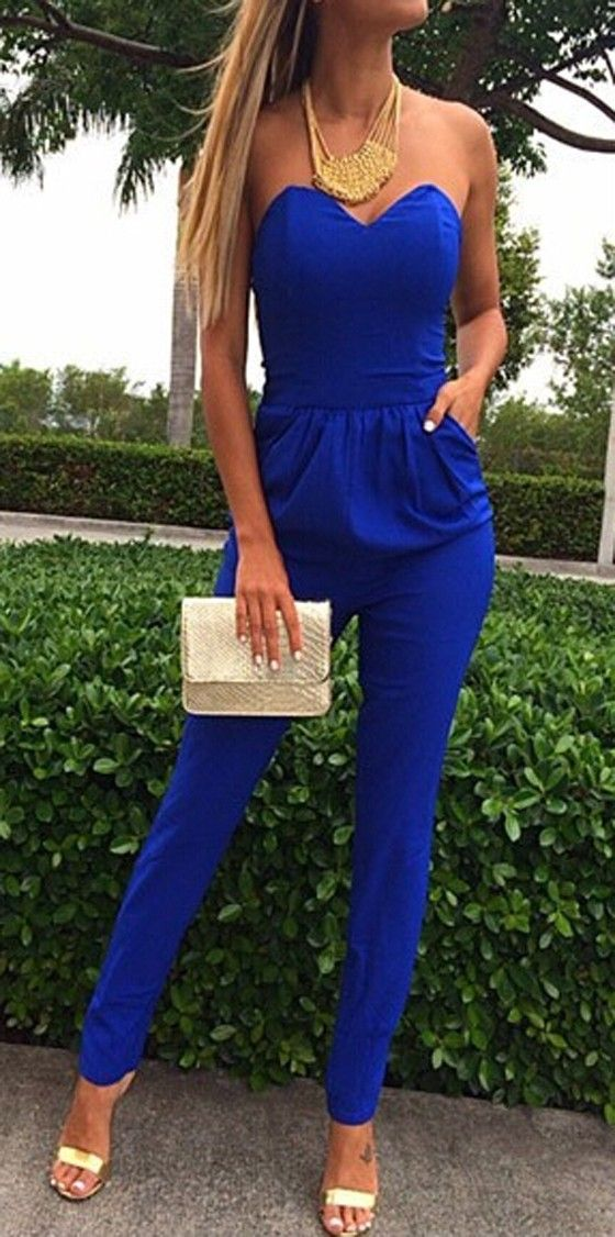 Blue Plain Bandeau Pockets Sexy Long Jumpsuit - Jumpsuit Pants - Bottoms