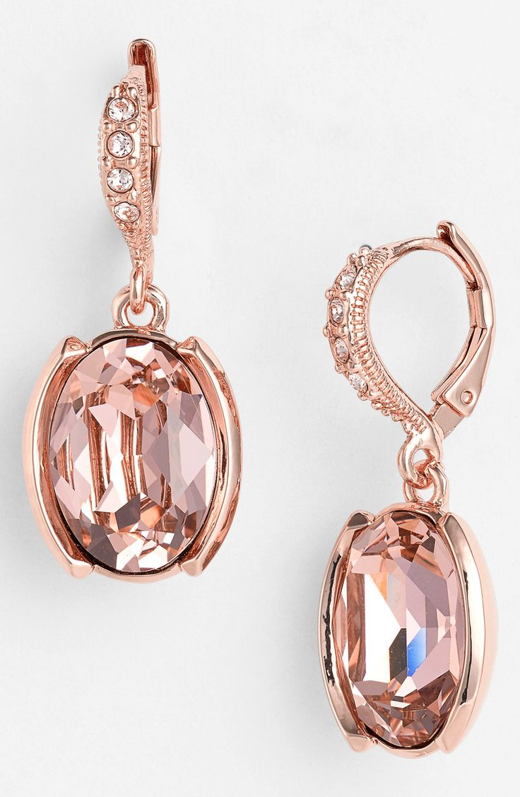 These rose gold crystal drop earrings are fit for a princess.