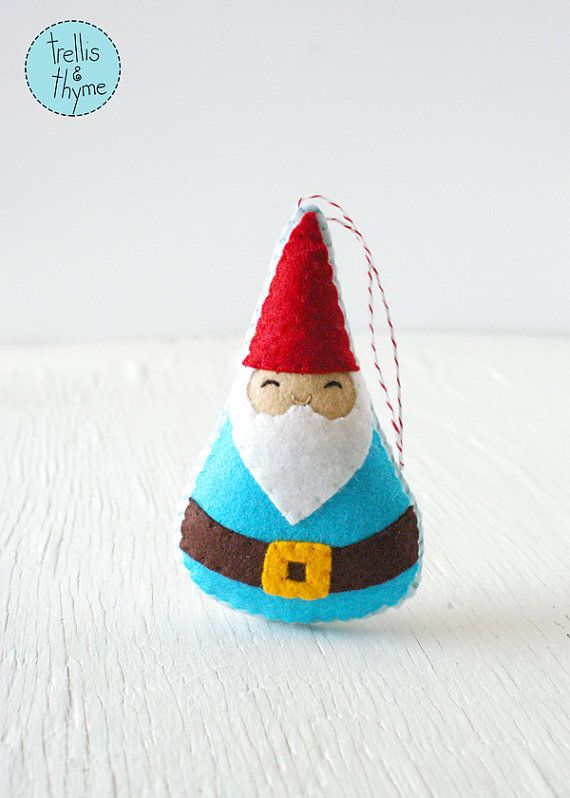 PDF Pattern - Woodland Gnome Felt Sewing Pattern, Winter Holiday Felt Ornament Pattern, Christmas Ornament, Softie Pattern