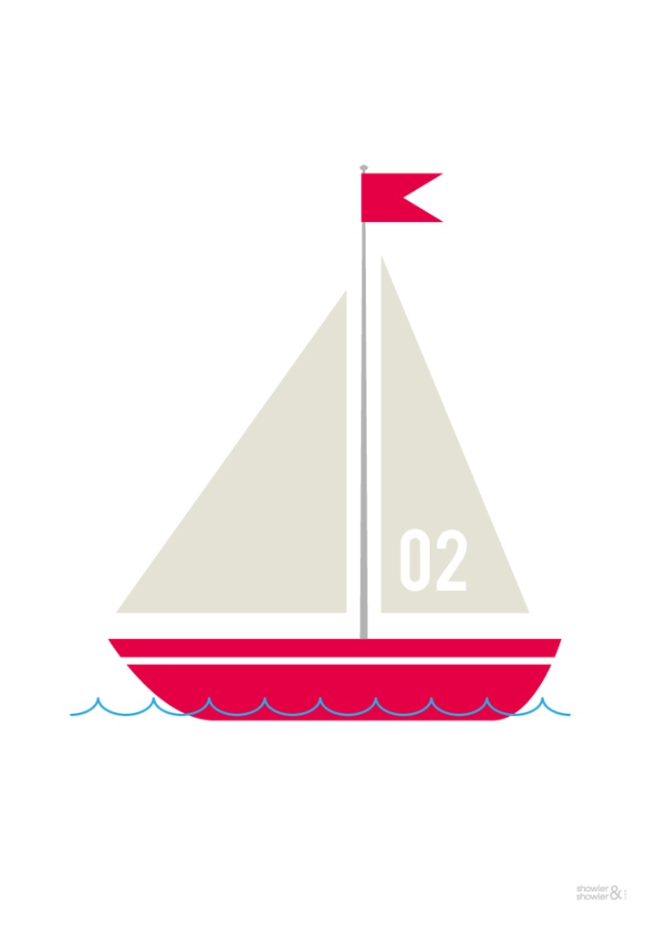 Sailing Boat Print (No. 2) by Showler and ShowlerChild Illustration, I M Sailing, Boats Prints, Silhouettes Projects, Illustration Photography, Sailing Boats