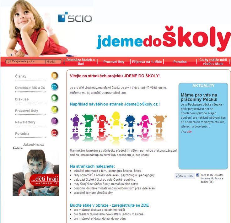 JdemeDoŠkoly.cz je portál pro rodiče předškoláků a malých školáků. Na webu naleznete články, poradnu, diskuse, databázi MŠ a ZŠ, průvodce pro rodiče školou, pracovní listy pro předškoláky, zajímavé statistiky ze vzdělávání a mnoho dalšího! www.jdemedoskoly.cz