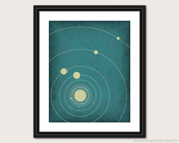 Minimalist Astronomy Poster - The Solar System - Wall Art Print - Available as 8x10, 11x14 or 16x20 on Etsy, $20.00
