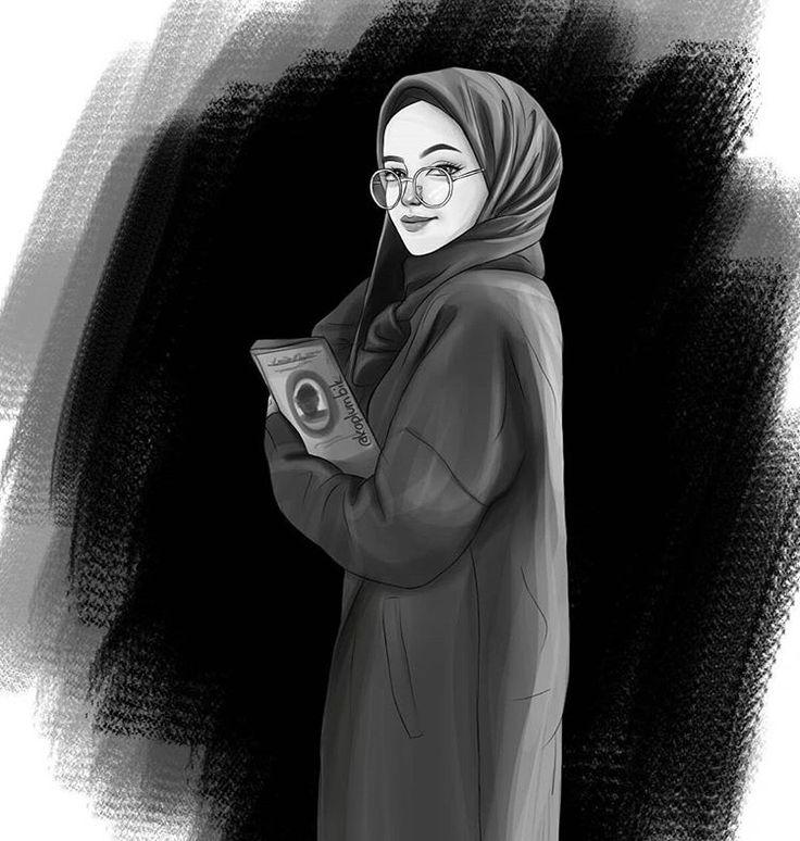 Картинки карандашом девушек в хиджабе