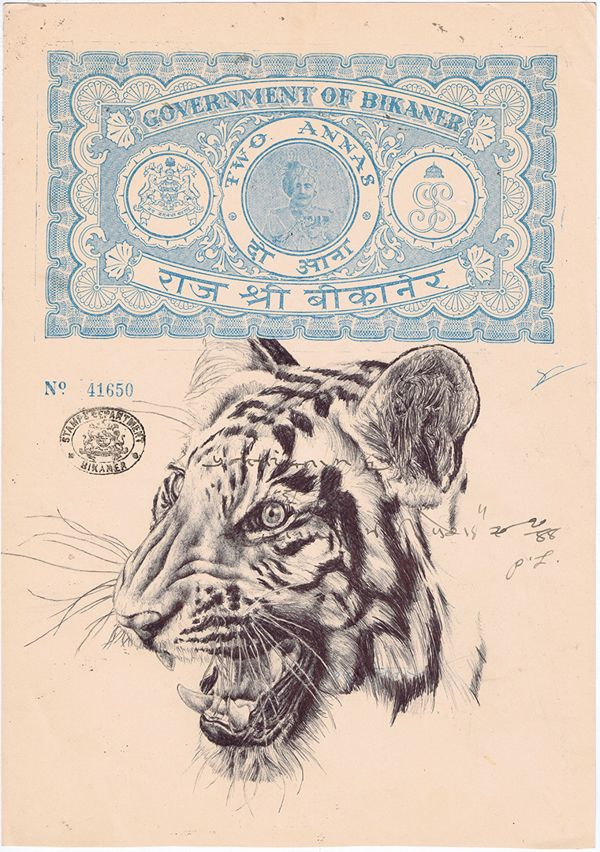 bic biro drawing on a 1930's Indian document. by mark powell, via Behance