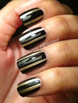 Valiantly Varnished: New Years Eve Nails Black and Gold Stripes