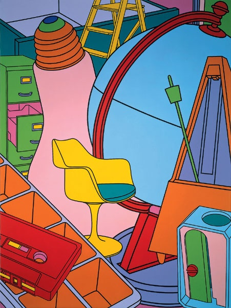Inhale (yellow) 2002 Michael Craig Martin. I'll put these bright colours on my windows and doorways pictures which i have layered like this picture has been layered with different objects.