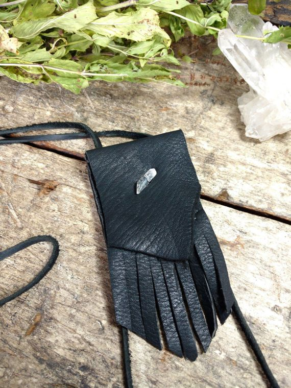 Deer Hide Neck Pouch  Medicine Bag  Crystal by Hammerthreads