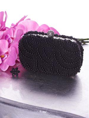 Geanta plic neagra cu aplicatii de margele