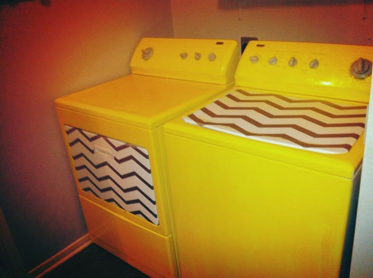yellow painted washer and dryer - I would paint the chevron stripes blue