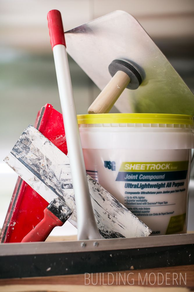 Stomped to Smooth: Skim coating a ceiling DIY - some of the tools we used