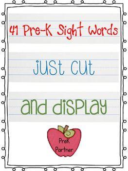 41 Pre-K Sight Words