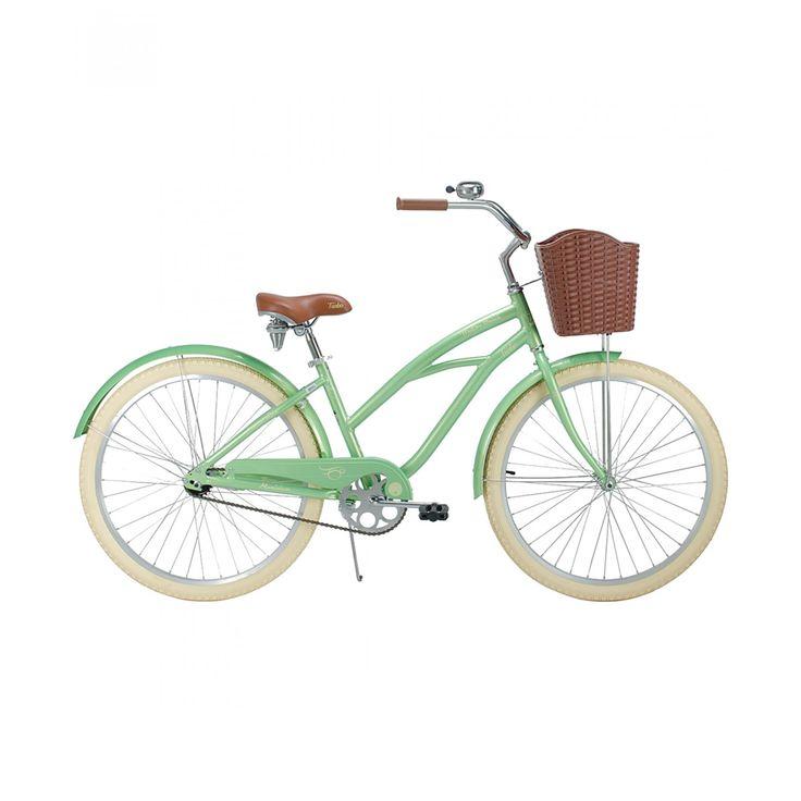 Bicicleta Turbo R26 Malibu W en tono menta; con salpicaderas cubrecadena canastilla timbre parador lateral bloqueo en poste asiento para ajustar altura tijera de acero rin aluminio y llanta de piso urbano.