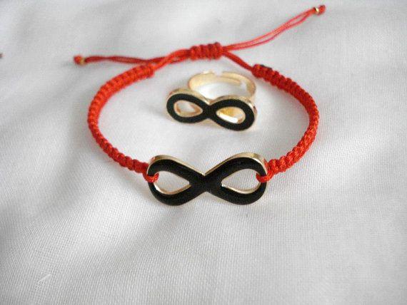 Black infinity charm bracelet Gold infinity jewelry by Poppyg