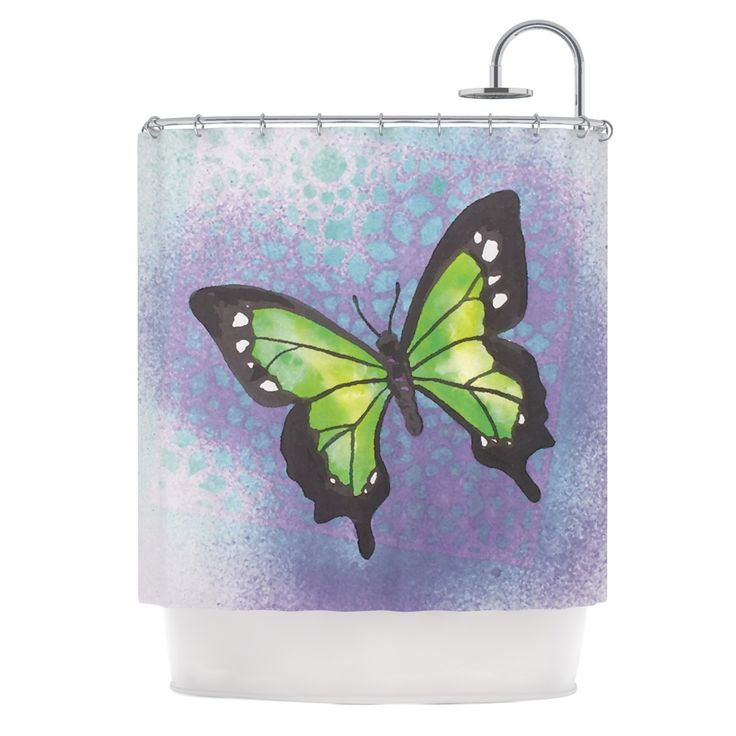 Kess InHouse Padgett Mason Lime Green Flutter Purple Lavender Shower Curtain
