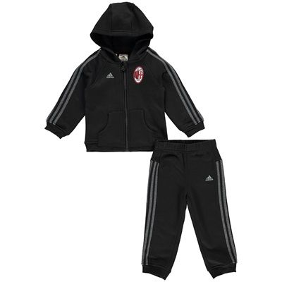 Adidas AC Milan 3 Stripe Baby Jog Suit Black AA1702 AC Milan 3 Stripe Baby Jog Suit - Black Kit your little one out in true San Siro style with the official AC Milan 3 Stripe Baby Jog Suit - Black. This AC Milan baby jog suit with full central zip comb http://www.MightGet.com/april-2017-2/adidas-ac-milan-3-stripe-baby-jog-suit-black-aa1702.asp