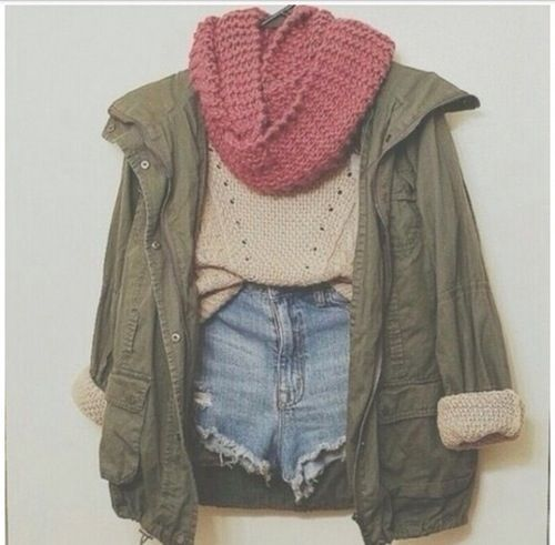 tumblr outfit / fashionFashion, Utility Jacket, Knits Scarves, Style, Clothing, Jackets, Fall Outfit, Cute Outfit, Denim Shorts