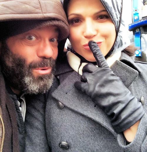 Awesome Lana and Lee (Regina and Leroy/Grumpy) #Once #BTS Lana and Lee being funny Lana saying Shhh #Steveston Village #Richmond Vancouver BC