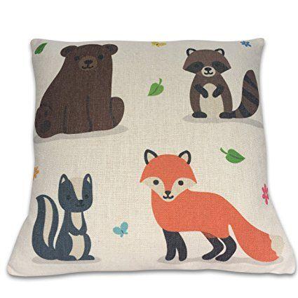 Amazon.com: Fox Pillow Decorative Throw Pillow Cover - Fox & Woodland Friends - 100% Cotton Linen - Pillow Cover Only - Fits 16x16 to 18x18 pillows / cushions: Bedding & Bath