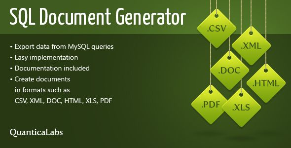 SQL Document Generator is a set of classes for creating documents in various formats based on SQL queries.