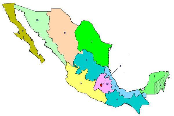 Mapa con zonas turísticas de México