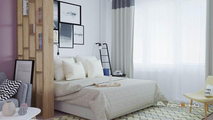 """Дизайн интерьера спальни. Скандинавский стиль. Белый, серый, бежевый, салатовый, розовый. Студия дизайна """"Печёный""""."""