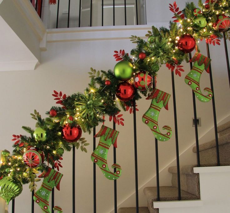 christmas decorations and christmas decorating ideas for your staircase banister is as easy as it can - Banister Christmas Garland Decor