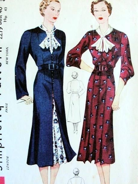 1930s JABOT COLLAR  DRESS, RAGLAN SLEEVED REDINGOTE PATTERN ELEGANT STYLE SIMPLICITY PATTERNS 2279