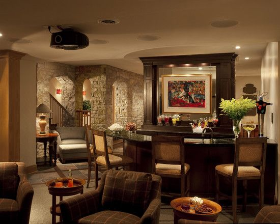 Beautiful Family Room Design With Home Bar Used