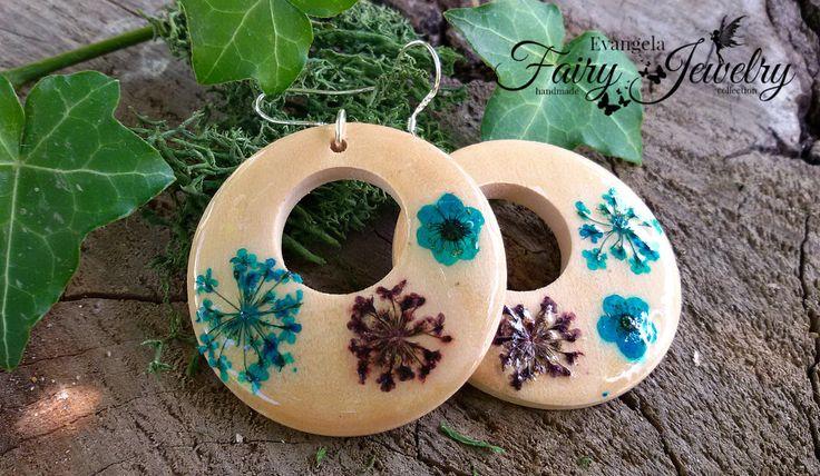 Orecchini legno naturale fiori pizzo sant anna gioielli giardino argento 925, by Evangela Fairy Jewelry, 11,00 € su misshobby.com