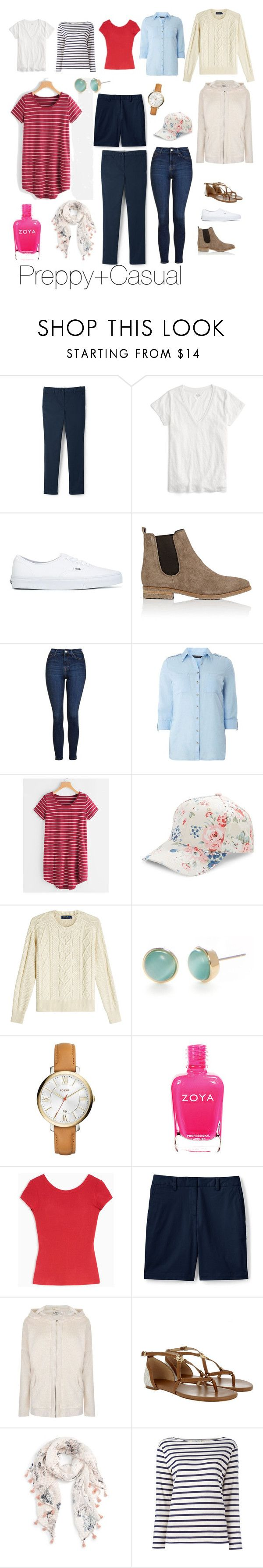 """""""Preppy Casual"""" by cheryl-eisenschmid on Polyvore featuring Lands' End, J.Crew, Vans, Barneys New York, Topshop, Dorothy Perkins, BCBGeneration, Polo Ralph Lauren, Kate Spade and FOSSIL"""