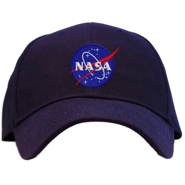 Nasa Meatball Insignia Embroidered Baseball Cap Navy (200 ARS) ❤ liked on Polyvore featuring accessories, hats, headwear, head, baseball cap hats, navy baseball cap, navy blue hat, embroidered baseball caps and baseball hats