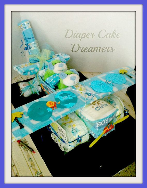 Airplane Diaper Cakes For Twins by DiaperCakeDreamers on Etsy, $65.00