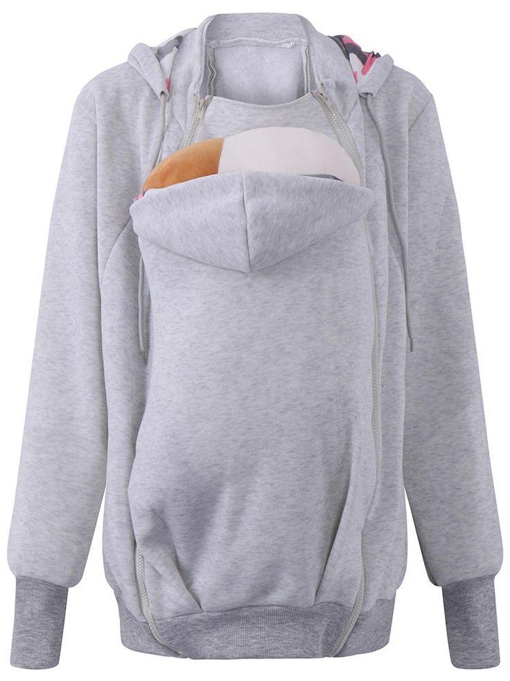 3 In 1 Babywearing Jacket Multifunctional Mother Kangaroo Zipper Hoodie at Banggood