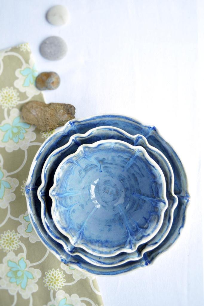 Lee Wolfe Pottery — Nesting Bowl large set in Dusk Blue