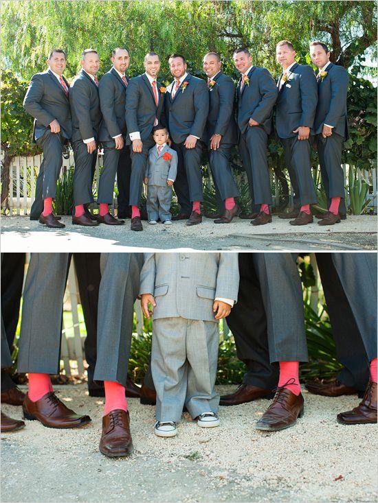 dark gray suits with red socks #groomstyle #groomsocks #weddingchicks http://www.weddingchicks.com/2014/01/15/boaventura-de-caires-winery-wedding-2/