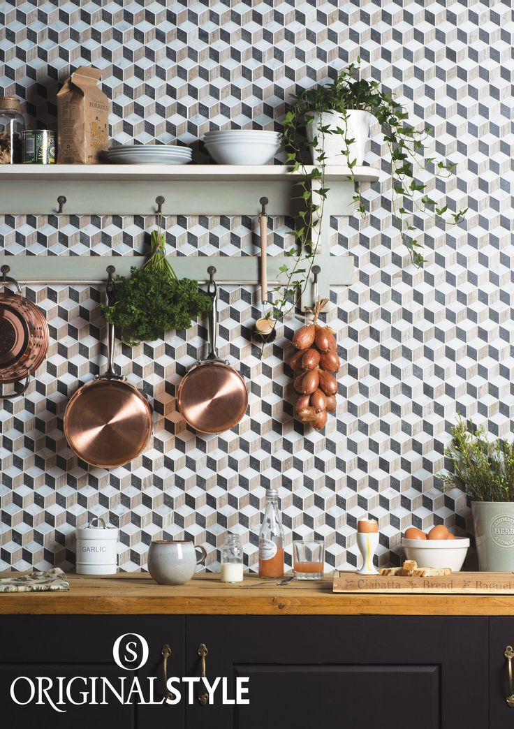 Adding a pattern mosaics such as Herald by Original Style gives an extra dimension to a wall. Herald's tumbling blocks is a classic design and looks 3D even though it is flat. Create a contemporary and edgy kitchen with these wall tiles.