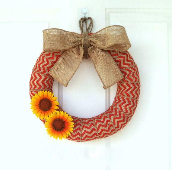 Fall Burlap Wreath - Modern Fall Wreath - Fall Orange Chevron Wreath -  Burlap Wreath with Felt Sunflowers - Choose your size on Etsy, $36.00