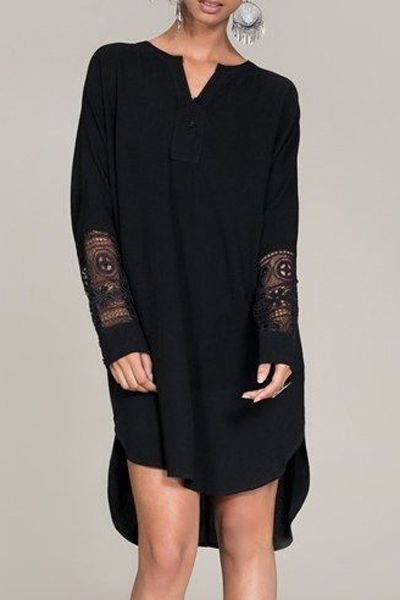 ZANFUL - love this top -Hollow Spliced V Neck Long Sleeve Blouse