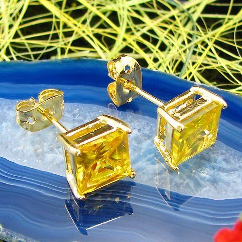 Cercei patrati placati cu aur galben 18k cu topaz galben
