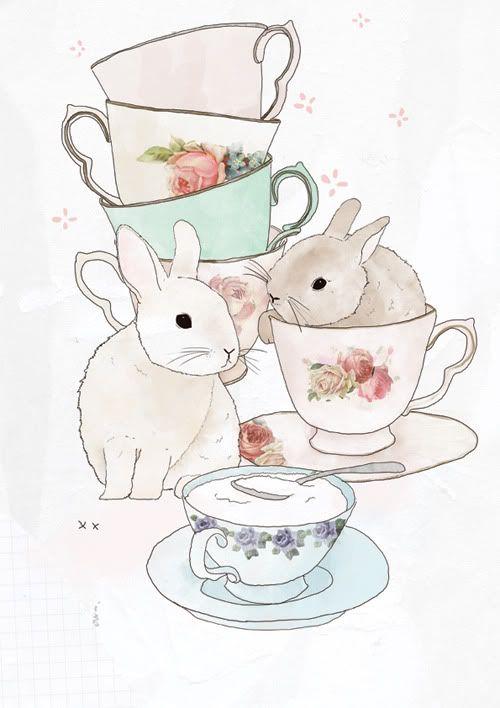 Bunnies & Tea: Beautiful illustrative style, fantastic watercolours and line work!