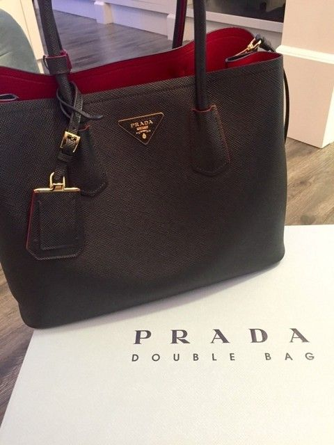 1bf1813fdd12 ... low cost chegou lanÇamento rÉplica de bolsa prada double bag black and  red d0700 dc829