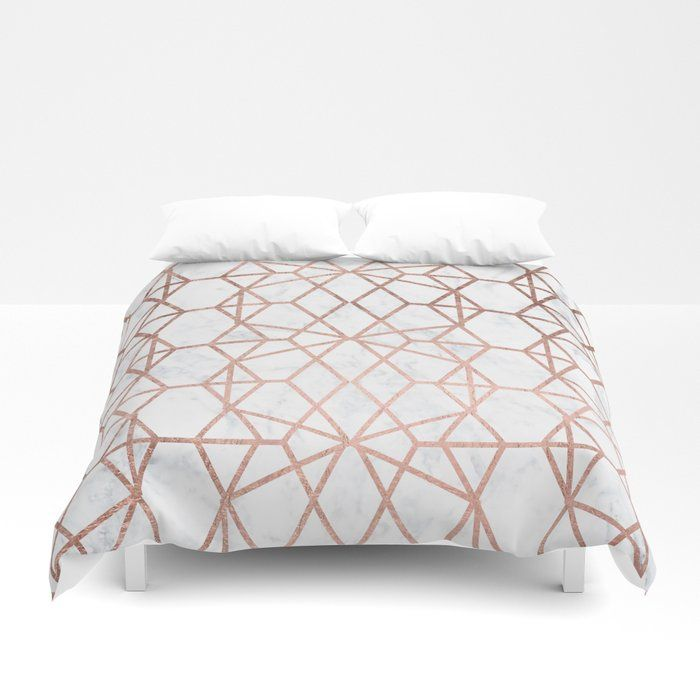 Buy Geometric Modern Abstract Stripes Lines Rose Gold White Marble Pattern Duvet Cover By Girlytrend Worldwide Duvet Cover Pattern Duvet Covers Marble Pattern