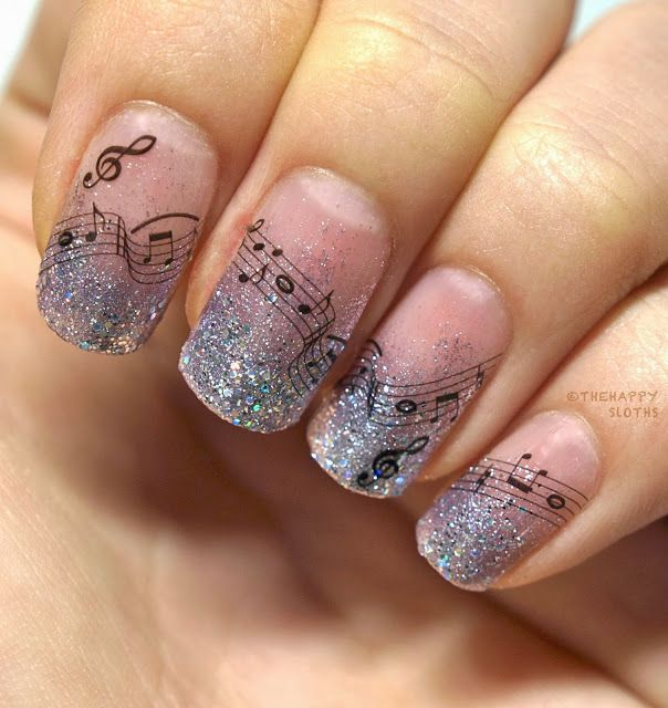 The Happy Sloths: Musical Notes Nails: Manicure Featuring Water Decal Stickers