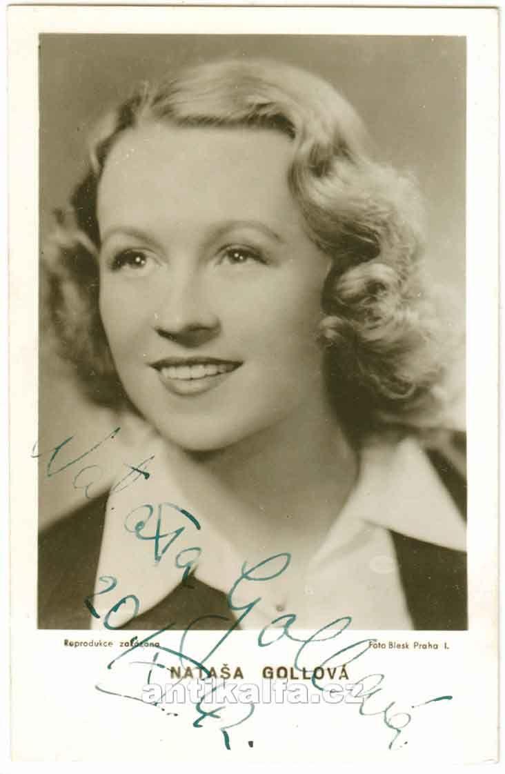 Nataša Gollová (1912 - 1988) was born in Prague, Bohemia, Austria-Hungary (now Czech Republic) as Nataša Hodáčová. She appeared in 55 films and television shows between 1930 and 1984.