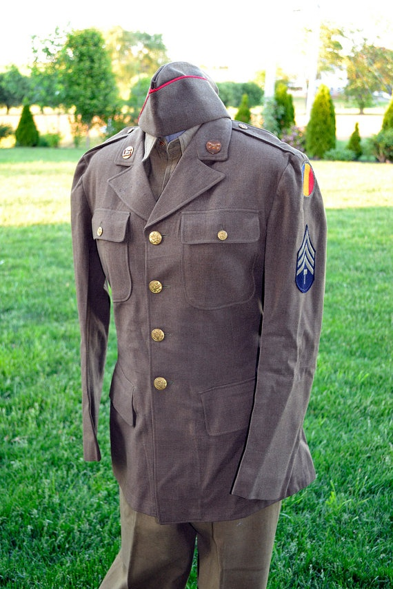 1940's WWII Military Uniform Army Tech Jacket - 38R, Pants, Shirt and Hat U.S. Army Training And Doctrine Command Shoulder Sleeve Insignia